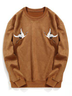 Crane Embroidered Suede Sweatshirt
