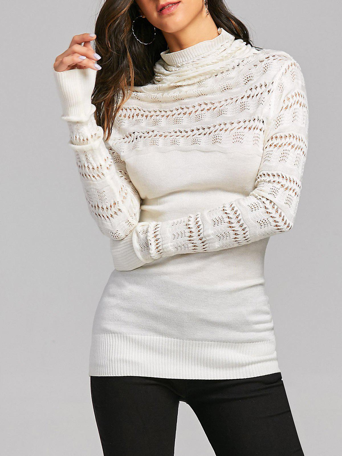 Cowl Neck Open Knitted Sweater 231509001