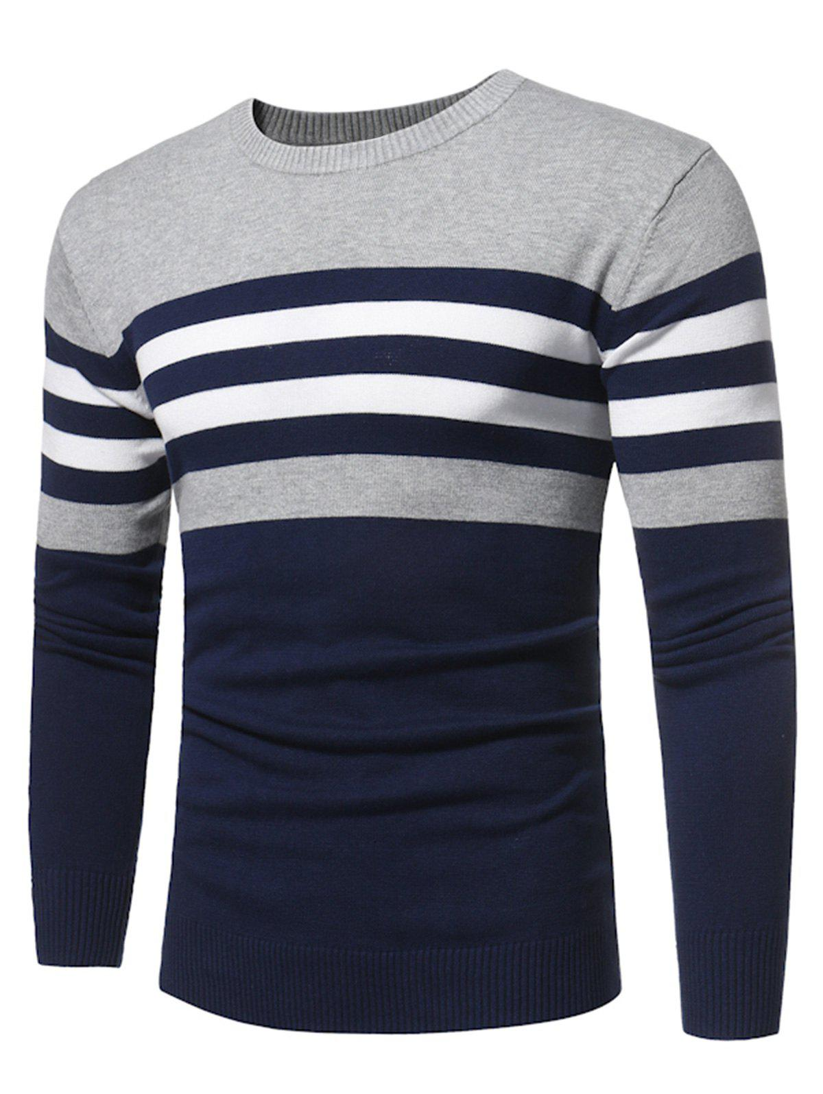 Crew Neck Color Block Stripe Panel Knitted Sweater 232242914