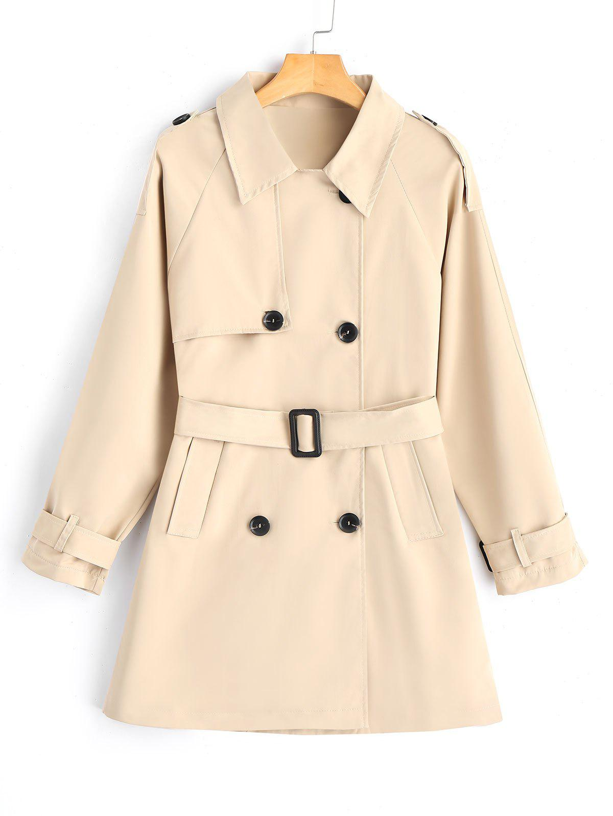 Image of Double-breasted Belted Skirted Trench Coat