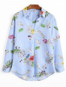 Blusa Listrada De Impressão De Folhas - Listras M