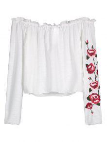 Ruffles Floral Bordados Off Blusa De Ombro - Branco S