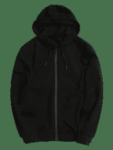 Cremallera Abrigo Negro Y Capucha Con L qP1pP8