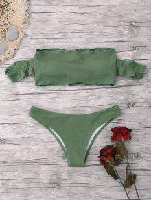 Off The Shoulder Ruffles Ribbed Bikini - Verde S