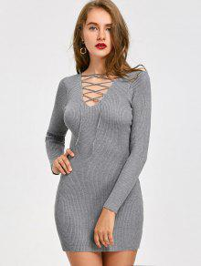 Lace Up Ribbed Mini Vestido De Malha - Cinza