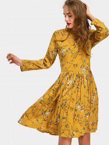 فستان مطوي طويلة الأكمام طباعة الأزهار - زنجبيل Xl