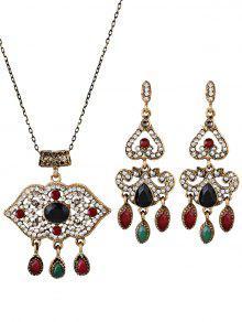 Boho Style Lip Shape Rhinestone Embellished Jewelry Set - Preto