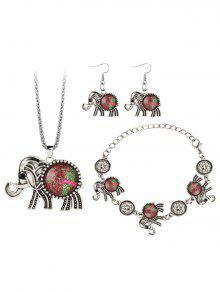 طقم قلادة وأقراط وسوار بنمط فيل مزين بالجواهر - أحمر
