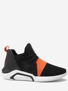 كولوربلوكد مطاطا باند تنفس أحذية رياضية - أسود وبرتقالي 44