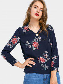 V Neck Floral Print Chiffon Blouse - Azul Arroxeado M