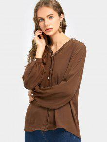 Lace Trim Button Up Blusa De Manga Comprida - Café