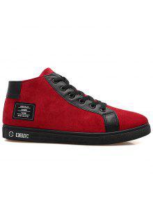 فو الجلد المدبوغ مصححة أحذية عالية الأعلى - أحمر 43