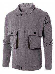 Turndown Collar Graphic Embroidered Pockets Corduroy Jacket - Cinza L