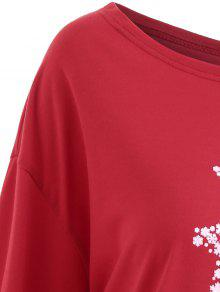 99e6b307d55 2019 Plus Size Merry Christmas Floral Deer Graphic T-shirt In RED ...