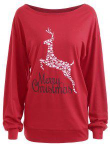 Camiseta Gráfica Con Estampado Floral De Gran Tamaño Para Navidad - Rojo 5xl