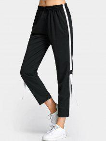 Lace Up Color Trim Capri Pants - Preto M