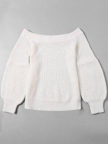 Off The épaule Puff Manches Pull - Blanc Xl