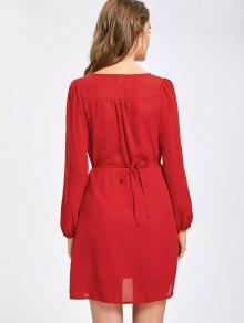 tiefer ausschnitt mini chiffon kleid rot minikleid xl zaful. Black Bedroom Furniture Sets. Home Design Ideas