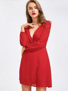 فستان شيفون مصغر غارق الرقبة - أحمر Xl