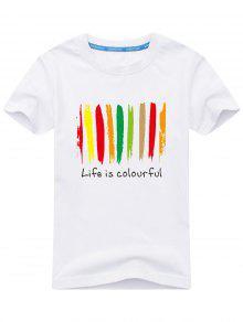 طباعة ملونة قصيرة الأكمام تي شيرت - أبيض L