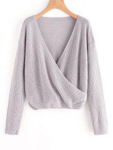 Crossed Front Pullover V Neck Sweater