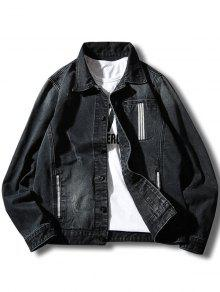 زر حتى شريط جيب الجينز التفاصيل جيب - أسود L
