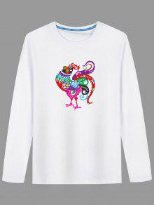 Camiseta Larga De Estampado De Pollo Con Dibujos Animados - Blanco 3xl