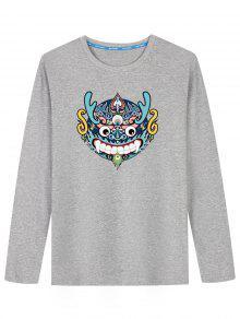 T-shirt De Manga Comprida Chinesa Com Cabeça De Dragão - Cinza Xl