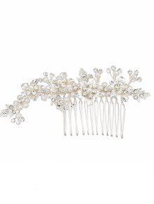 Rhinestone Faux Pearl Flower Wedding Hair Comb - Prata