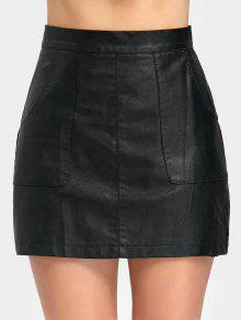 بو الجلود تنورة مصغرة مع جيب - أسود M
