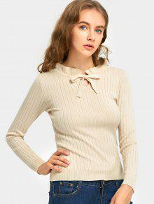 Ruffle Bow Tie Neck Ribbed Knitted Sweater - Ral1001 Bege,  Amarelo Claro Ou Cinza Amarelo