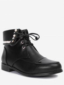 Lace Up Faux Pearl Boots - Preto 39