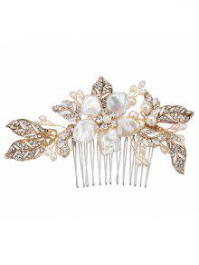 Faux Pearl Shell Wedding Flower Hair Pele De Cabelo - Dourado