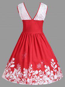 Vestido Con De Encaje Santa Estampado Xl De De Claus Navidad De Fiesta Rojo fZCw0rqf