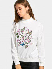 Sweat-shirt à Fleurs Et Papillons Brodés à Épaules Tombantes - Blanc M