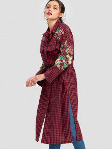 L A Rojo Floral Bordada Cuadros Camisa q71pw0RX0