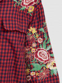 Floral Rojo L Bordada Camisa A Cuadros wqRUSBxt