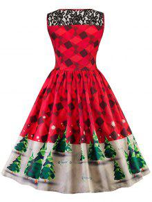 d271d10a0fbb 46% OFF] 2019 Vintage Lace Insert Christmas Pin Up Skater Dress In ...
