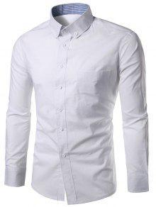 سليم صالح زر أسفل عارضة قميص - أبيض M