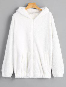 معطف بغطاء الرأس - أبيض