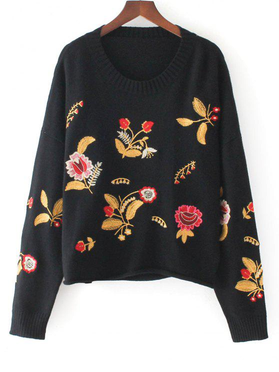 trendy Pullover Floral Embroidered Oversized Sweater - BLACK ONE SIZE
