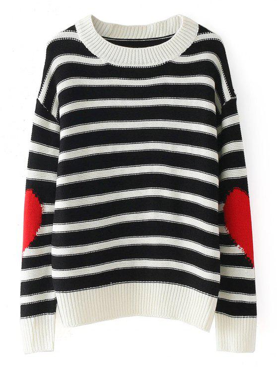 affordable Heart Stripes Pullover Sweater - STRIPE ONE SIZE