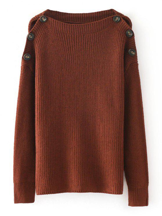 Loose Buttoned Shoulder Pullover Sweater BRICK-RED: Sweaters ONE ...