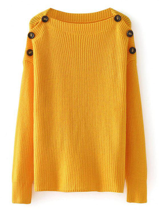 Loose Buttoned Shoulder Pullover Sweater MUSTARD: Sweaters ONE ...
