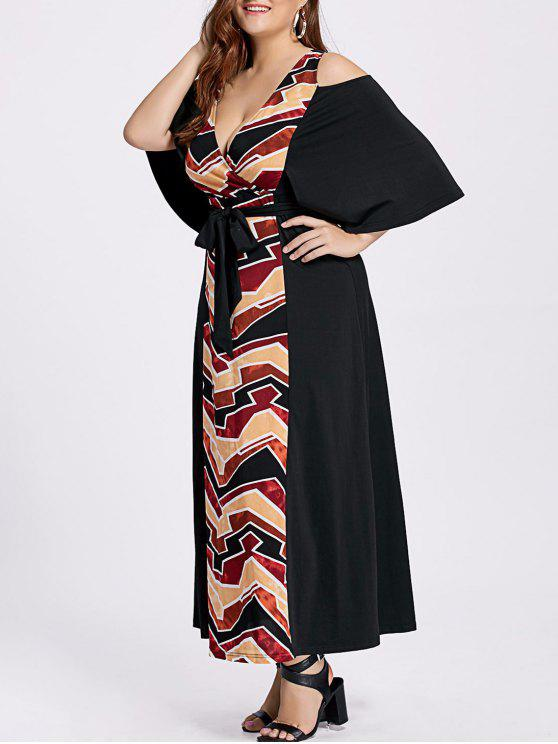 Knöchel-Länge plus Größen-kaltes Schulter-Kleid - Schwarz 4XL