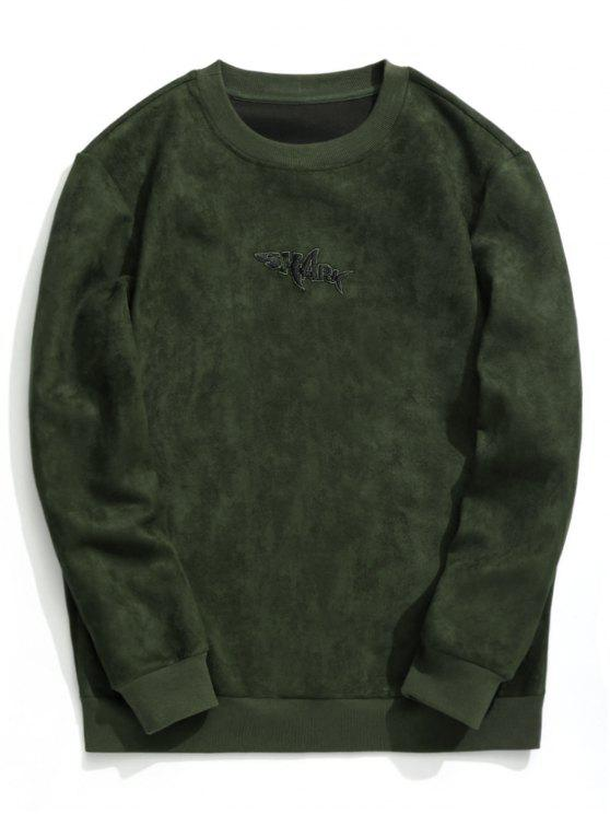 online Shark Embroidered Suede Sweatshirt - ARMY GREEN L