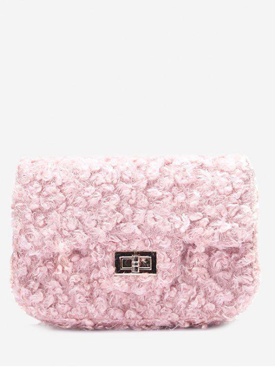2018 Hasp Faux Fur Chain Crossbody Bag In PINK  2457f5a24fa7a