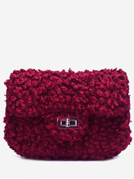 حقيبة كروسبودي من الفرو المزيف مغلقة بمشبك مع حزام السلسلة - أحمر