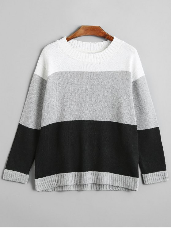 lady Crew Neck Colorblock Sweater - GRAY ONE SIZE