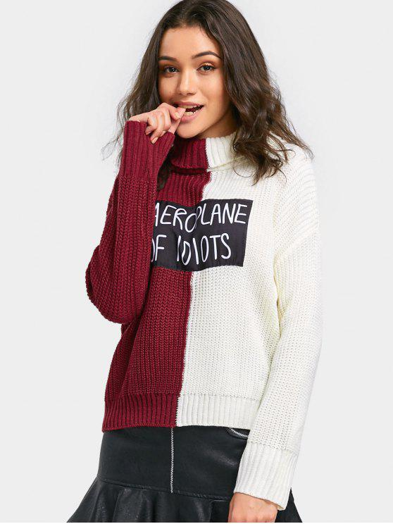 26 Off 2019 Letter Applique Color Block Turtleneck